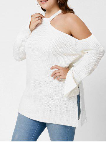 New Plus Size Cold Shoulder Side Slit Sweater