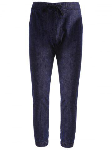 New Stretch Drawstring Jogger Jeans DEEP BLUE 32