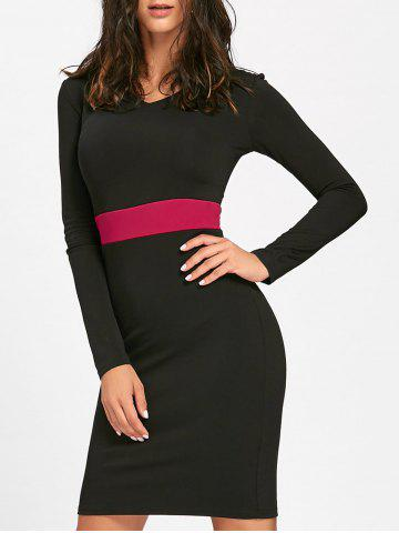 Unique V Neck Two Tone Mini Bodycon Dress - L BLACK Mobile