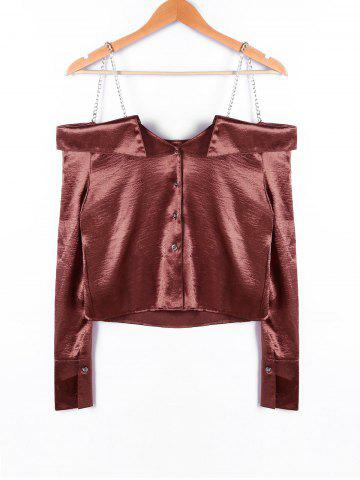 Outfit Chains Embellished Crop Blouse - S DARK AUBURN Mobile