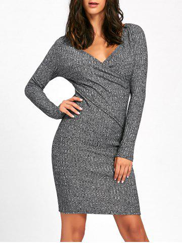 Best Surplice Ribbed Long Sleeve Knit Dress - L GRAY Mobile