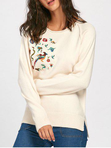 Discount Raglan Sleeve Side Slit Floral Embroidered Sweater - ONE SIZE APRICOT Mobile
