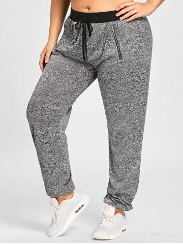 Online Drawstring Waist Zipper Embellished Plus Size Jogger Pants