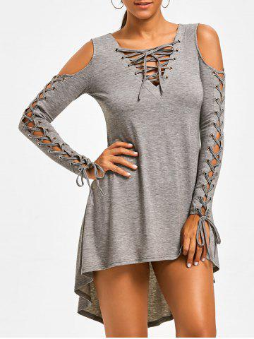 Sale Open Shoulder Lace Up Tee Dress - HEATHER GRAY XL Mobile