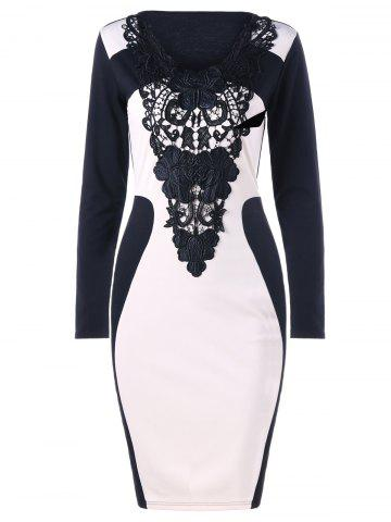 Crochet Insert Long Sleeve Bodycon Dress Blanc et Noir L