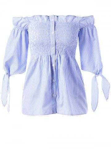 Best Button Up Off The Shoulder Striped Blouse - M BLUE STRIPE Mobile