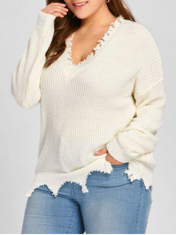 New Plus Size V Neck Ribbed Raw Hem Sweater - 2XL OFF-WHITE Mobile