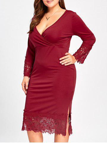 Fashion Midi Lace Trim Plus Size Fitted Surplice Dress