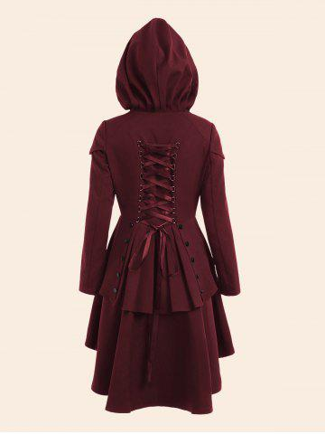 Hot Lace Up High Low Plus Size Hooded Coat - 5XL WINE RED Mobile