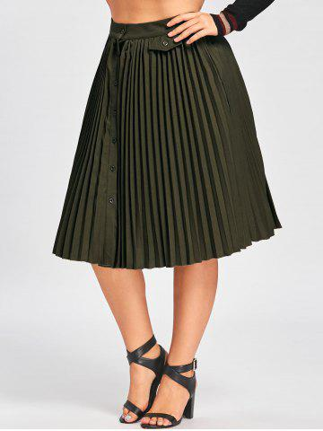 Shop Plus Size Buttons High Waist Pleated A Line Skirt ARMY GREEN XL