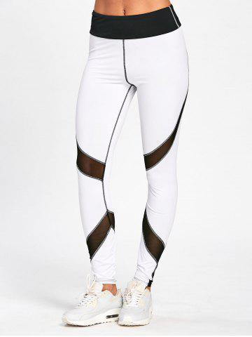 Best Striped Skinny High Waisted Leggings - M WHITE AND BLACK Mobile