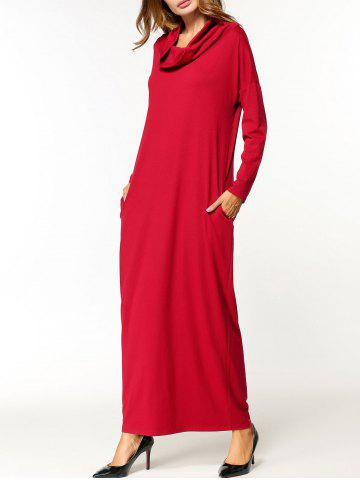 New Cowl Neck Long Sleeve Maxi Dress RED ONE SIZE