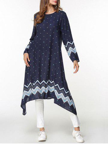 Online Printed Asymmetrical Long Sleeve Dress - M PURPLISH BLUE Mobile