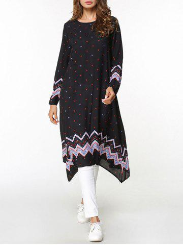 Fancy Zigzag Asymmetrical Long Sleeve Dress