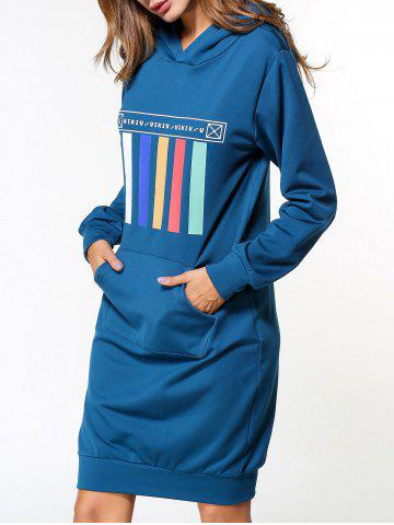 New Graphic Long Sleeve Hoodie Dress BLUE XL