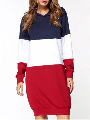 Discount Patchwork Hoodie Dress RED L