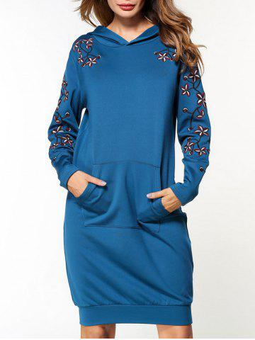 Trendy Flower Embroidered Pocket Hoodie Dress - XL BLUE Mobile