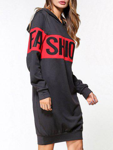 Affordable Two Tone Fashion Graphic Hoodie Dress - L BLACK Mobile