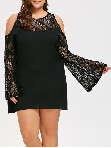 Latest Plus Size See Through Lace Sleeve Cold Shoulder Dress