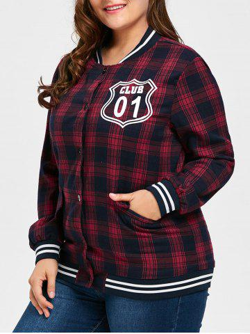 Hot Plus Size Striped Plaid Letter Print Jacket