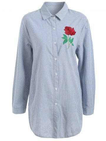 Shop Plus Size Pocket Floral Embroidered Striped Shirt