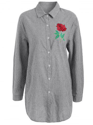 Buy Plus Size Pocket Floral Embroidered Striped Shirt