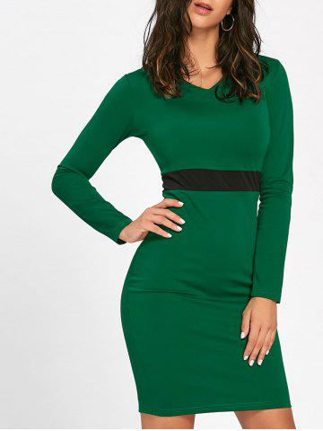 Sale V Neck Two Tone Mini Bodycon Dress