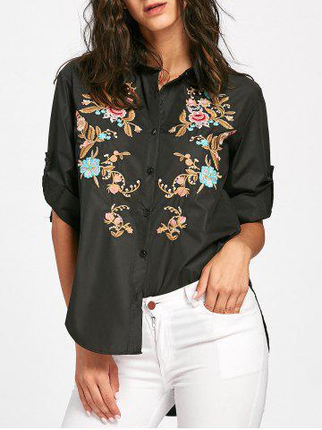 Discount Floral Embroidery High Low Blouse