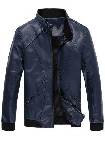 Conception de panneau Zip Up Faux Leather Jacket