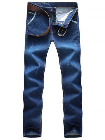 Buy Scratched Embroidered Straight Leg Jeans