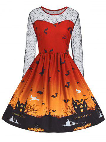 Fancy Plus Size Halloween Pumpkin Castle Print Vintage Dress