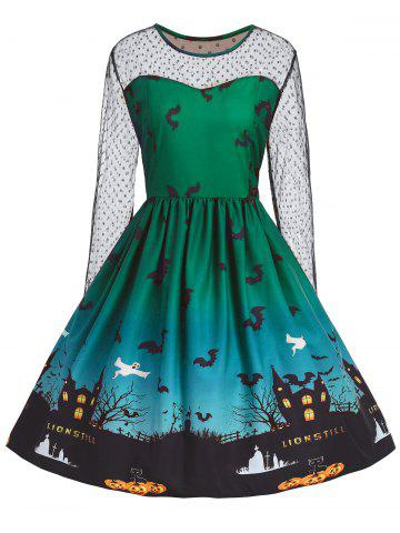 Affordable Plus Size Halloween Pumpkin Castle Print Vintage Dress