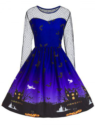 Hot Plus Size Halloween Pumpkin Castle Print Vintage Dress