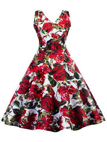 Sale Vintage Floral Skater Pin Up Dress