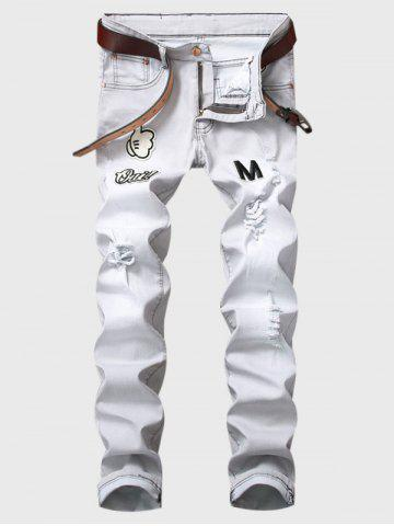 Best Cartoon Graphic Appliques Ripped Jeans