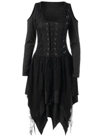 Store Halloween Lace Up Handkerchief Layered Gothic Dress