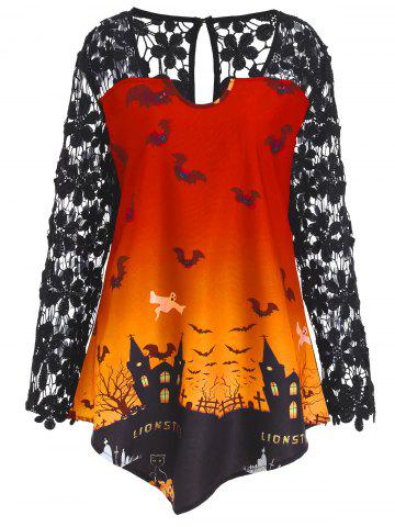 Hot Plus Size Lace Panel Asymmetrical Halloween T-shirt