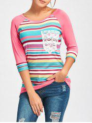 Crochet Pocket imprimé Raglan Sleeve T-shirt - ROSE PÂLE 2XL