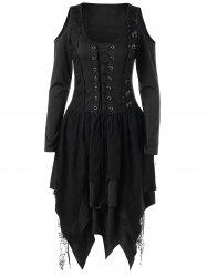 Halloween Lace Up Handkerchief Layered Dress - Black - 2xl