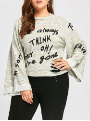 Think Letter Ripped Plus Size Pullover Sweatshirt -
