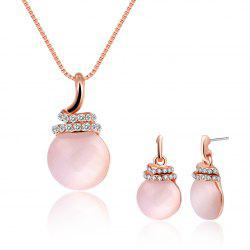 Ensemble de bijoux ronds Faux Opal strass -