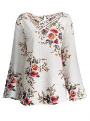 Lattice Plus Size Hollow Out Floral Top - Crystal Cream - 2xl
