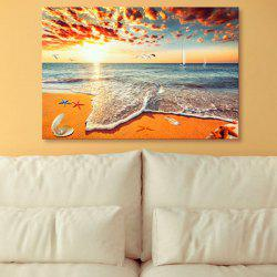 Beach Scenery Print Canvas Wall Art Painting - SAND YELLOW 1PC:24*39 INCH( NO FRAME )