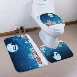 Christmas Snow Moon Sled 3Pcs Bath Rugs Set - BLUE
