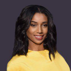 Short Middle Part Shaggy Natural Wave Bob Synthetic Wig - BLACK