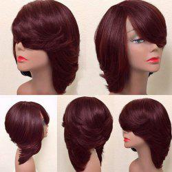 Short Inclined Bang Thick Straight Feathered Bob Synthetic Wig -
