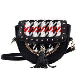 Rivet Tassel Plaid Crossbody Bag - BLACK