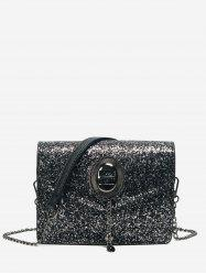 Chain Glitter Crossbody Bag - BLACK