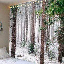 Waterproof Forest Snow Pattern Wall Hanging Tapestry - White And Brown - W79 Inch * L71 Inch