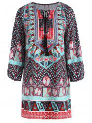 Plus Size Keyhole Tassel Tribe Print Blouse - COLORMIX 3XL